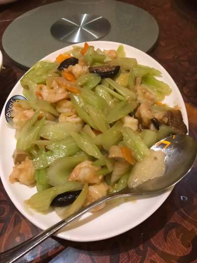 西芹炒虾球 Celery Fried with prawn